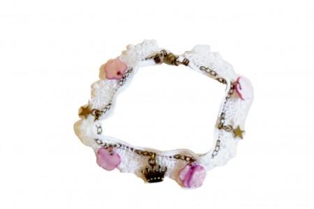 Tutoriel bracelet dentelle, perles de nacre et breloques blanc