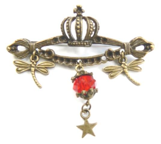 Kit DIY bijoux broche avec couronne, libellules, perle et étoile, couleurs rouge