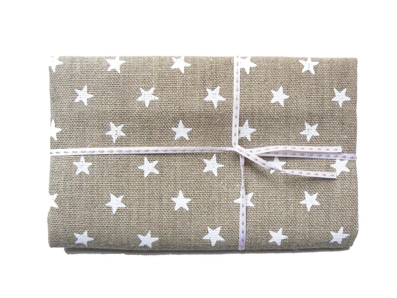 Lin étoiles blanches toile de lin naturel imprimé
