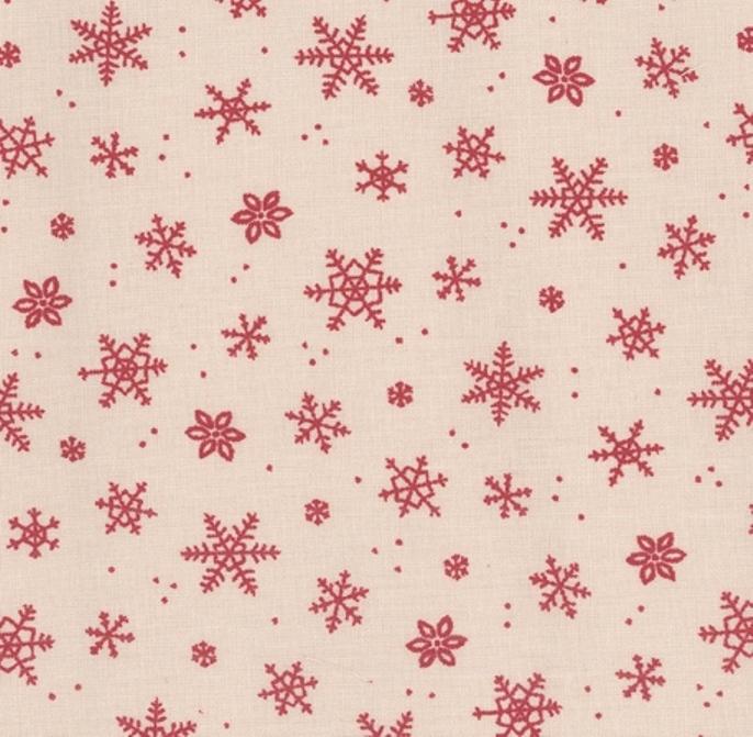Tissu flocons de neige en coton écru et rouge