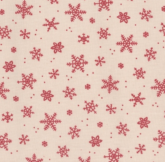 tissu-ecru-flocons-rouges