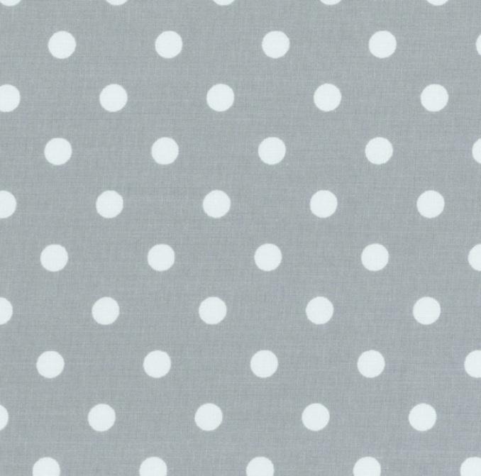 Tissu à pois en coton gris et blanc