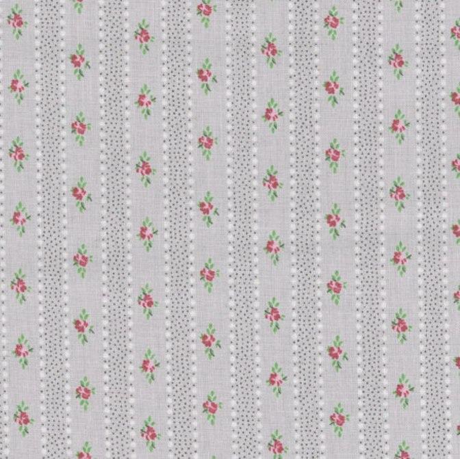 tissu-gris-rayures-et-roses