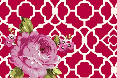 Tissu rouge avec roses roses