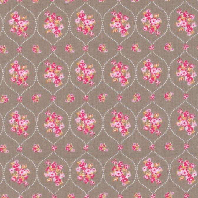 tissu-taupe-bouquets-fleurs