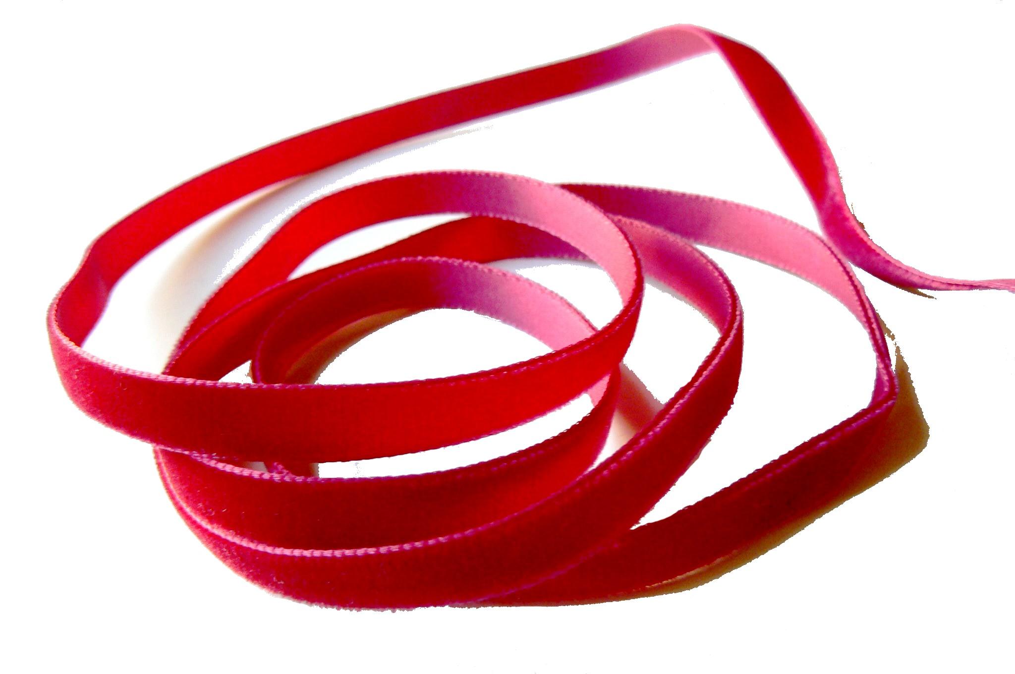 Ruban galon de velours – largeur 9 mm Rouge framboise