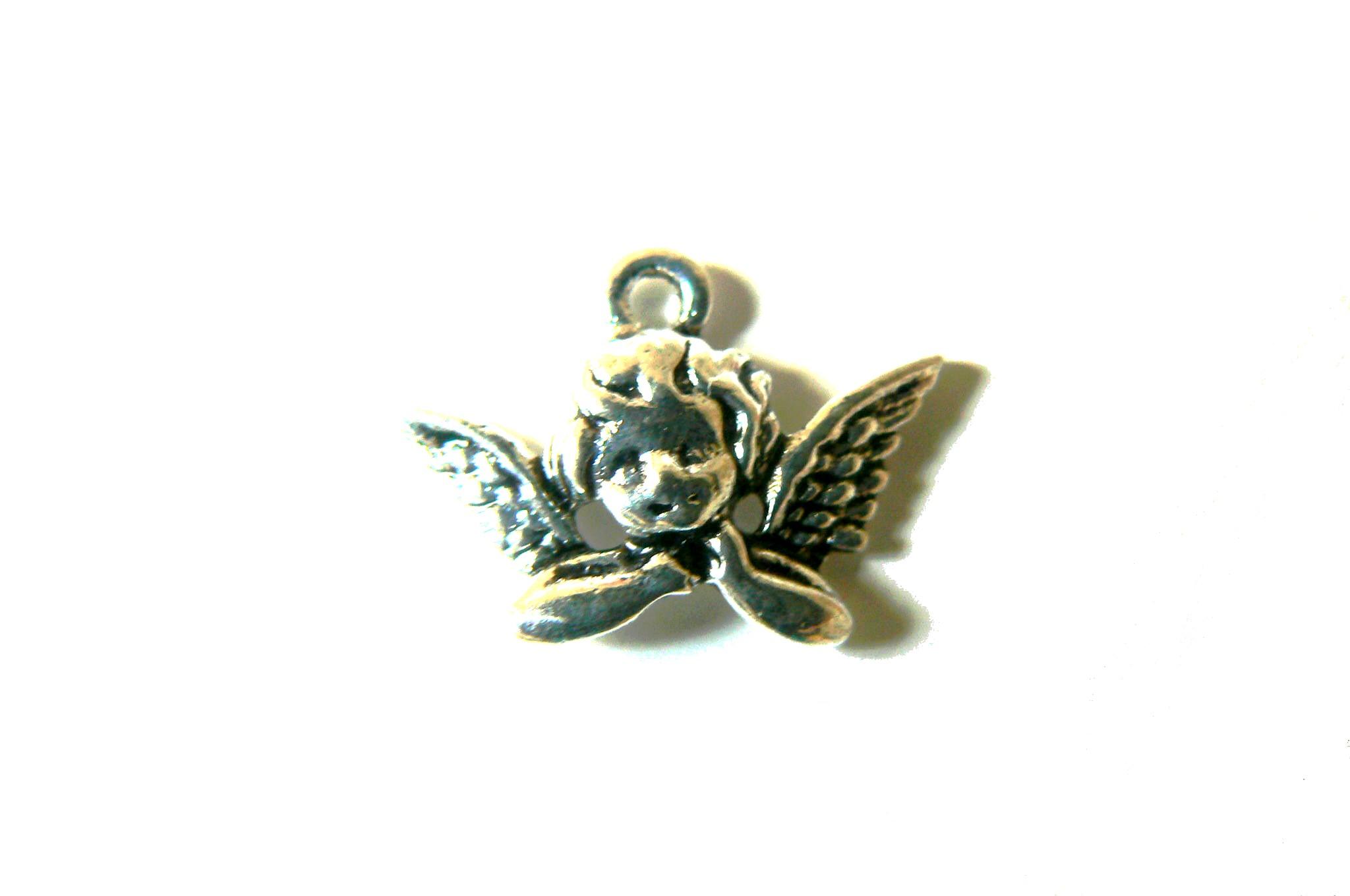 Breloque ange penseur 25 x 12 mm en métal couleur argent
