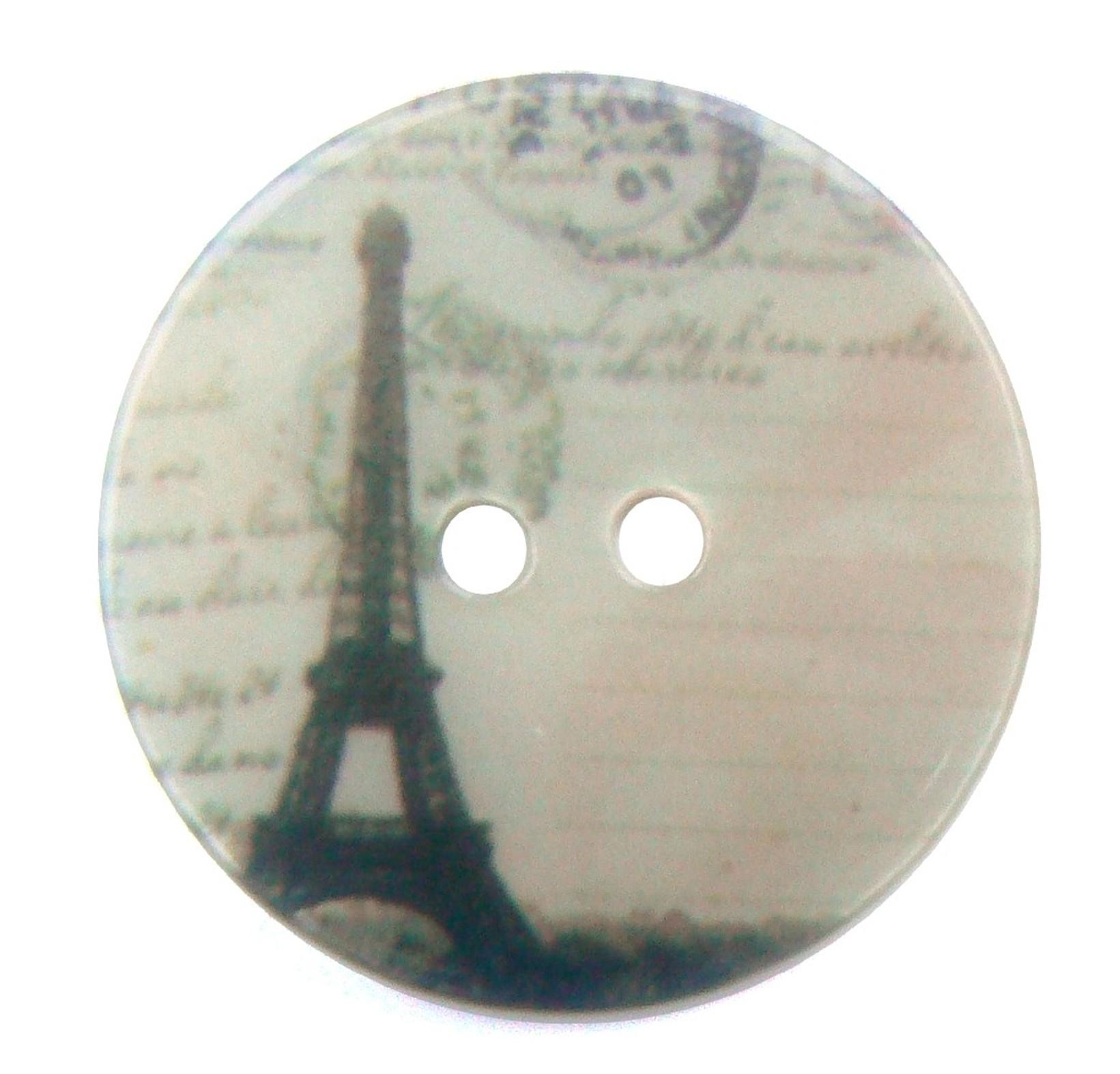 Bouton vintage en nacre rond avec tour Eiffel, Paris – 30 mm