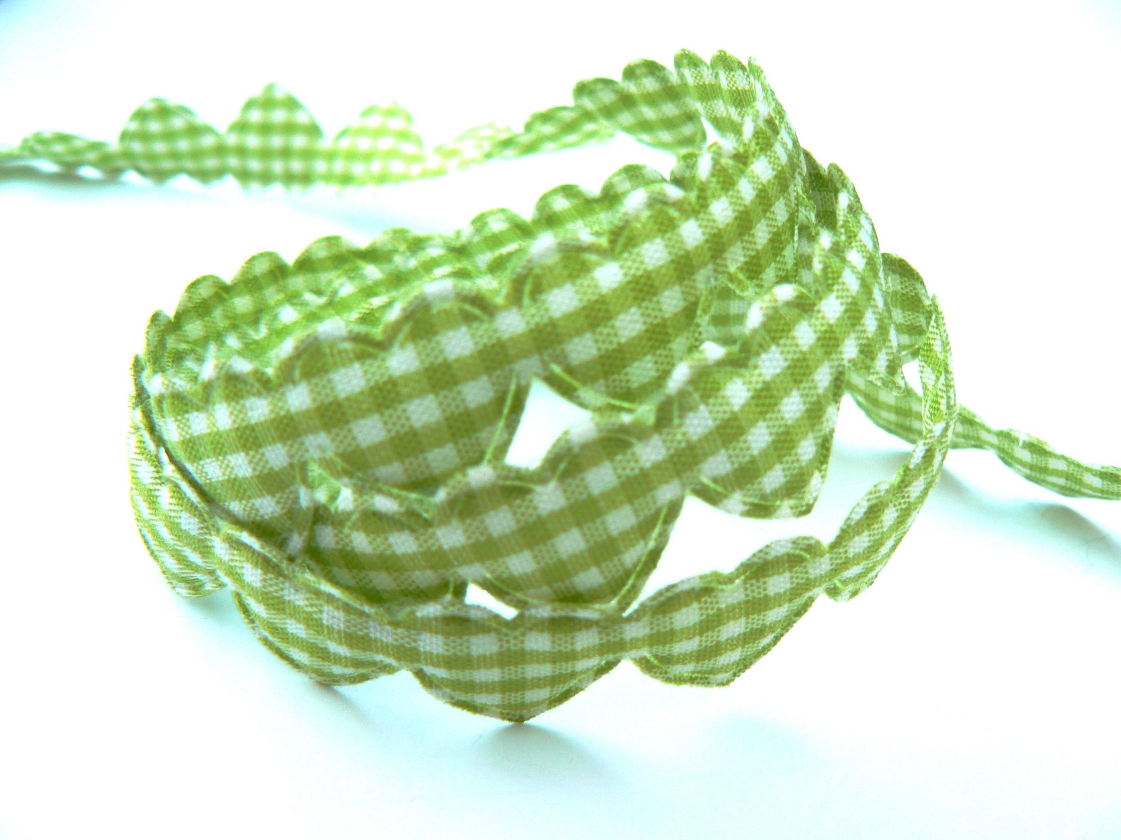 Cœurs Vichy vert et blanc Galon ruban