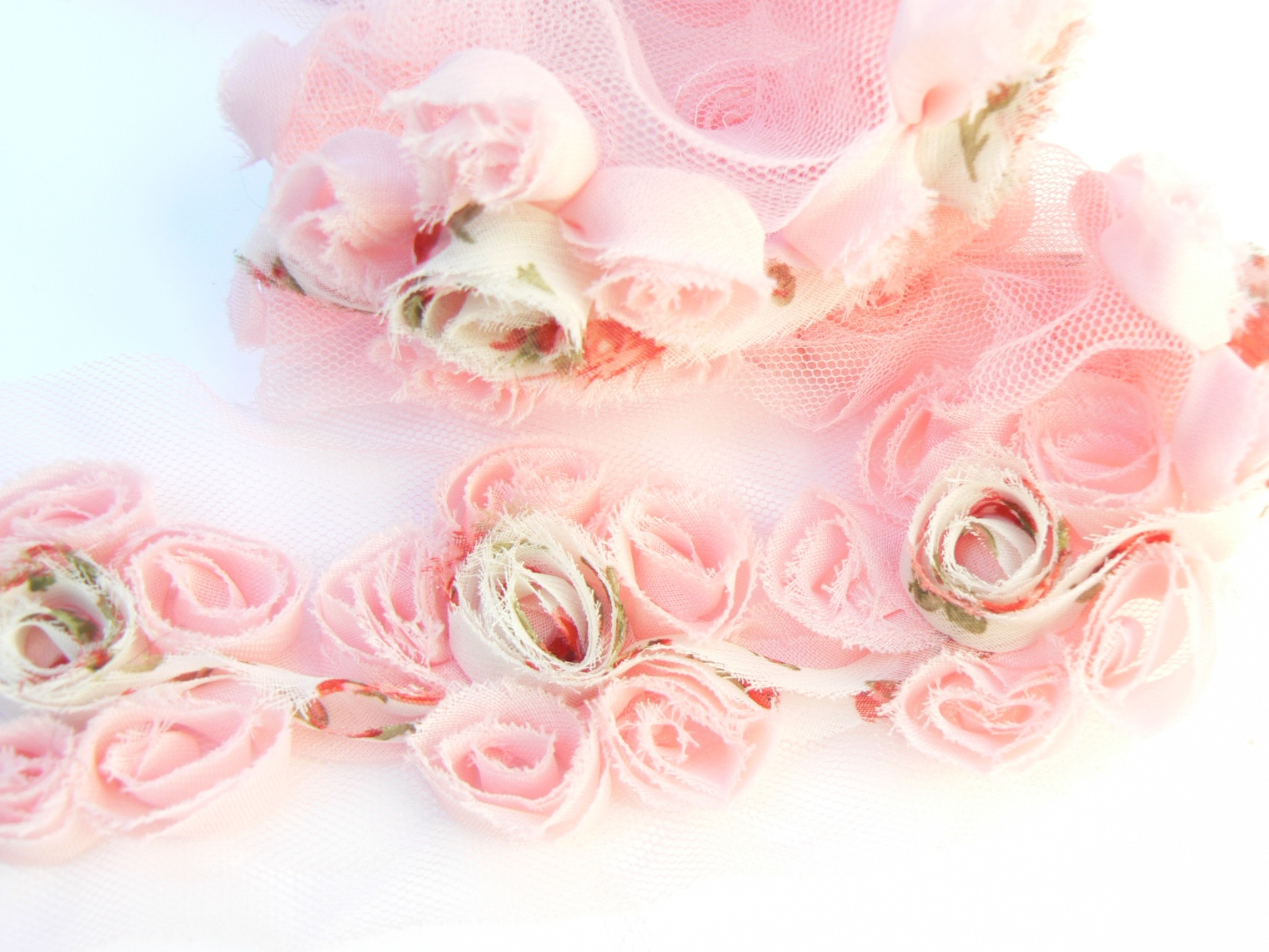 29 Cm 5 Feurs Galon De Fleurs Chiffon Mousseline Rose Autour D Elsa