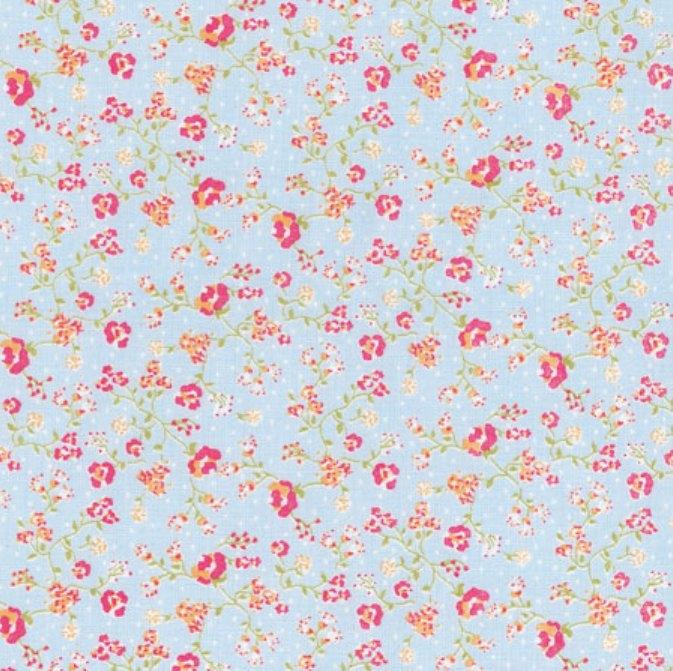 tissu-bleu-petites-fleurs
