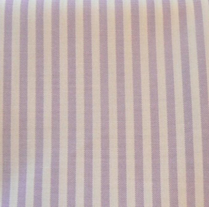 Tissu rayures mauves et blanches en coton