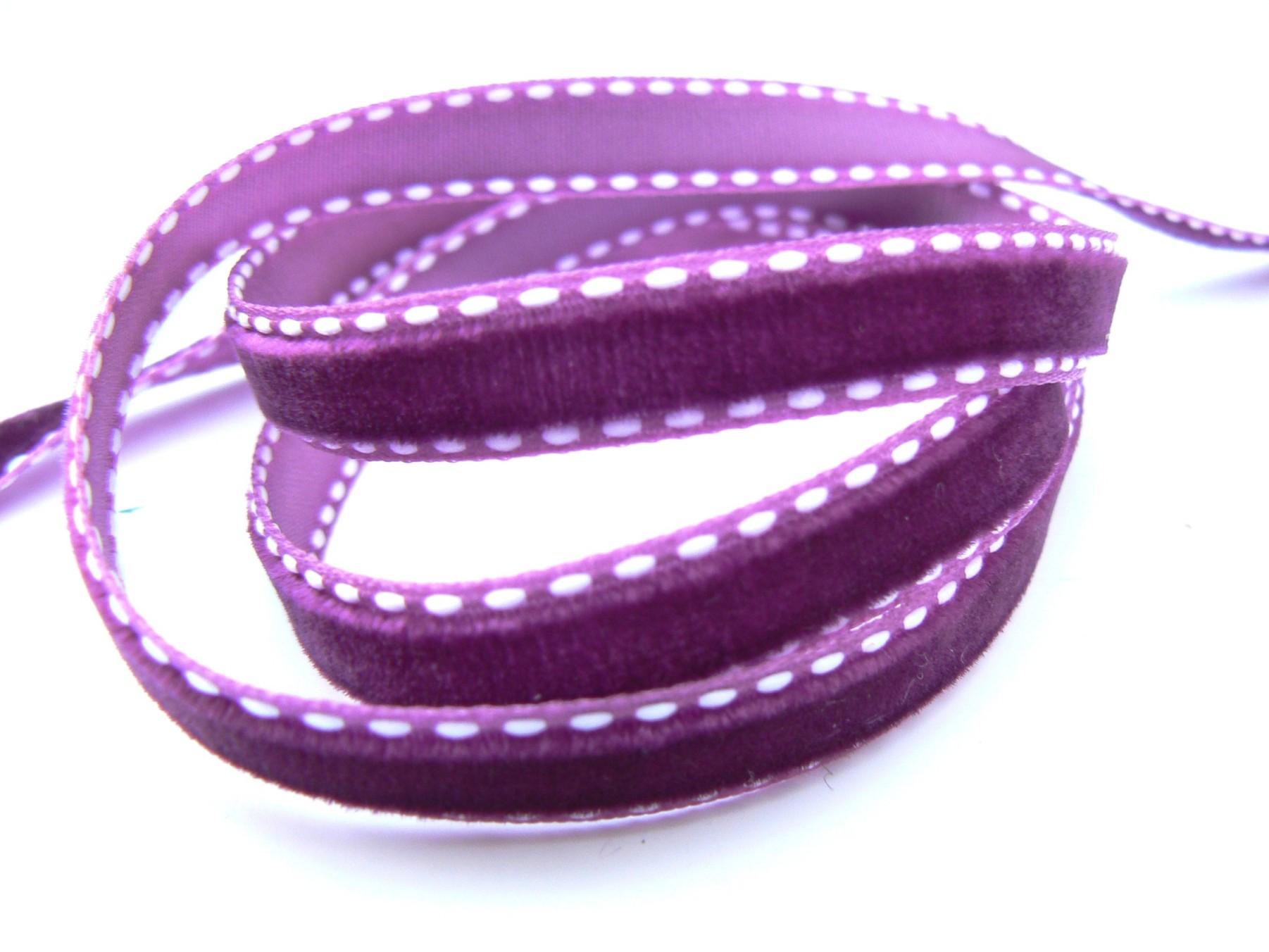 Ruban galon de velours piqué prune violine – largeur 10 mm
