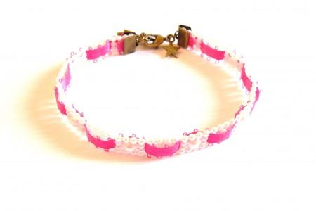 Kit DIY bijoux bracelet galon de perles et ruban rose fuchsia