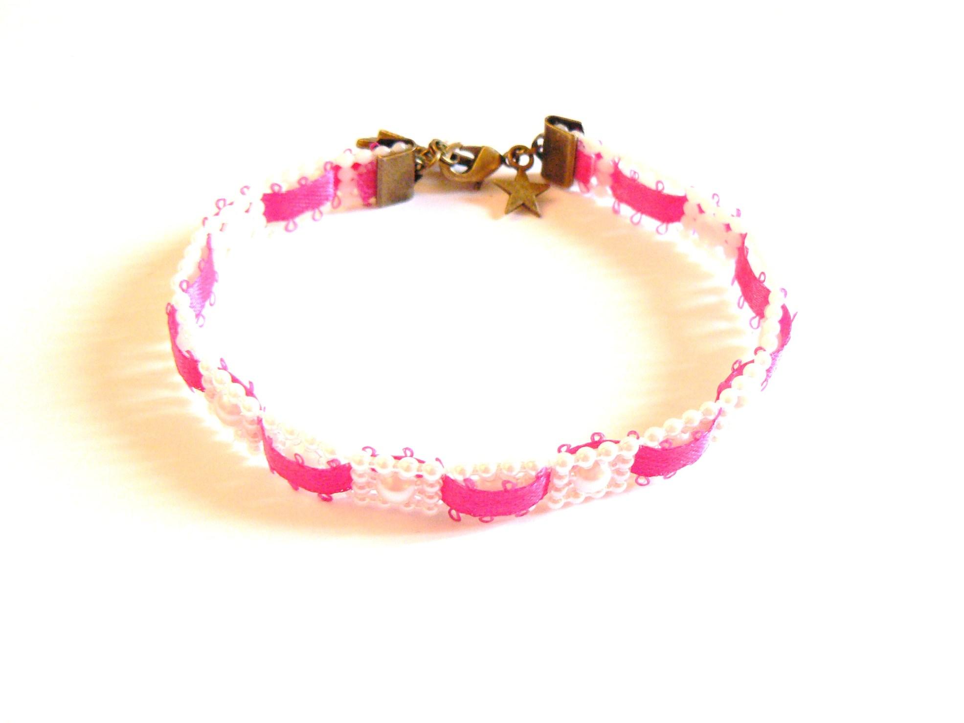 Kit diy bijoux bracelet galon de perles ruban fuchsia autour d 39 elsa - Bracelet perle et ruban ...