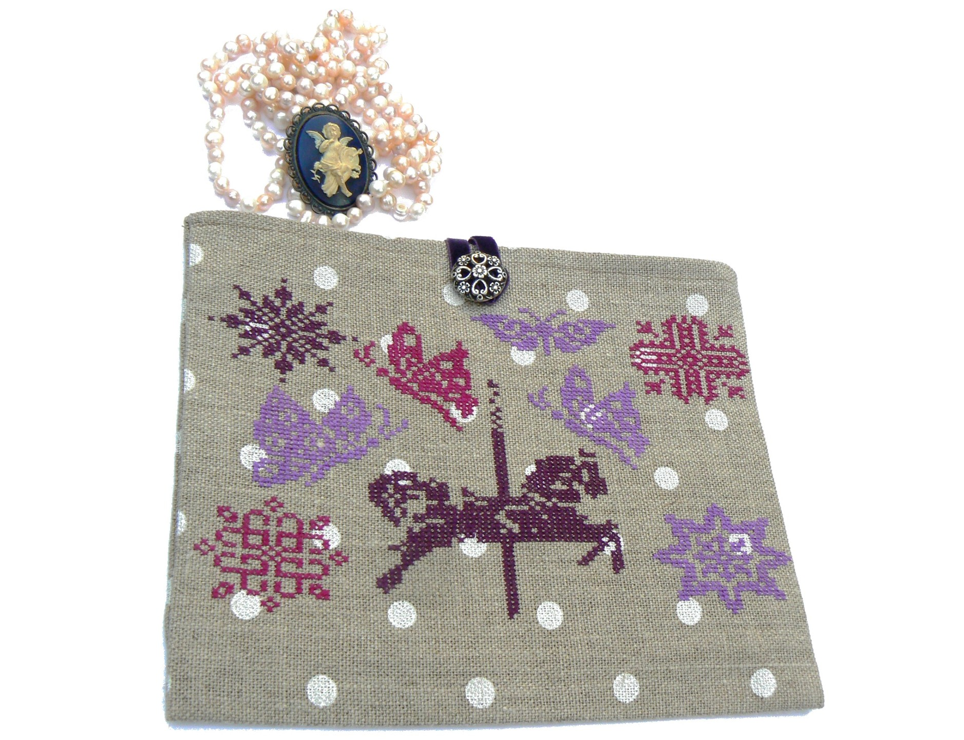 POCHETTE CHEVAL DE CARROUSEL PRUNE-small