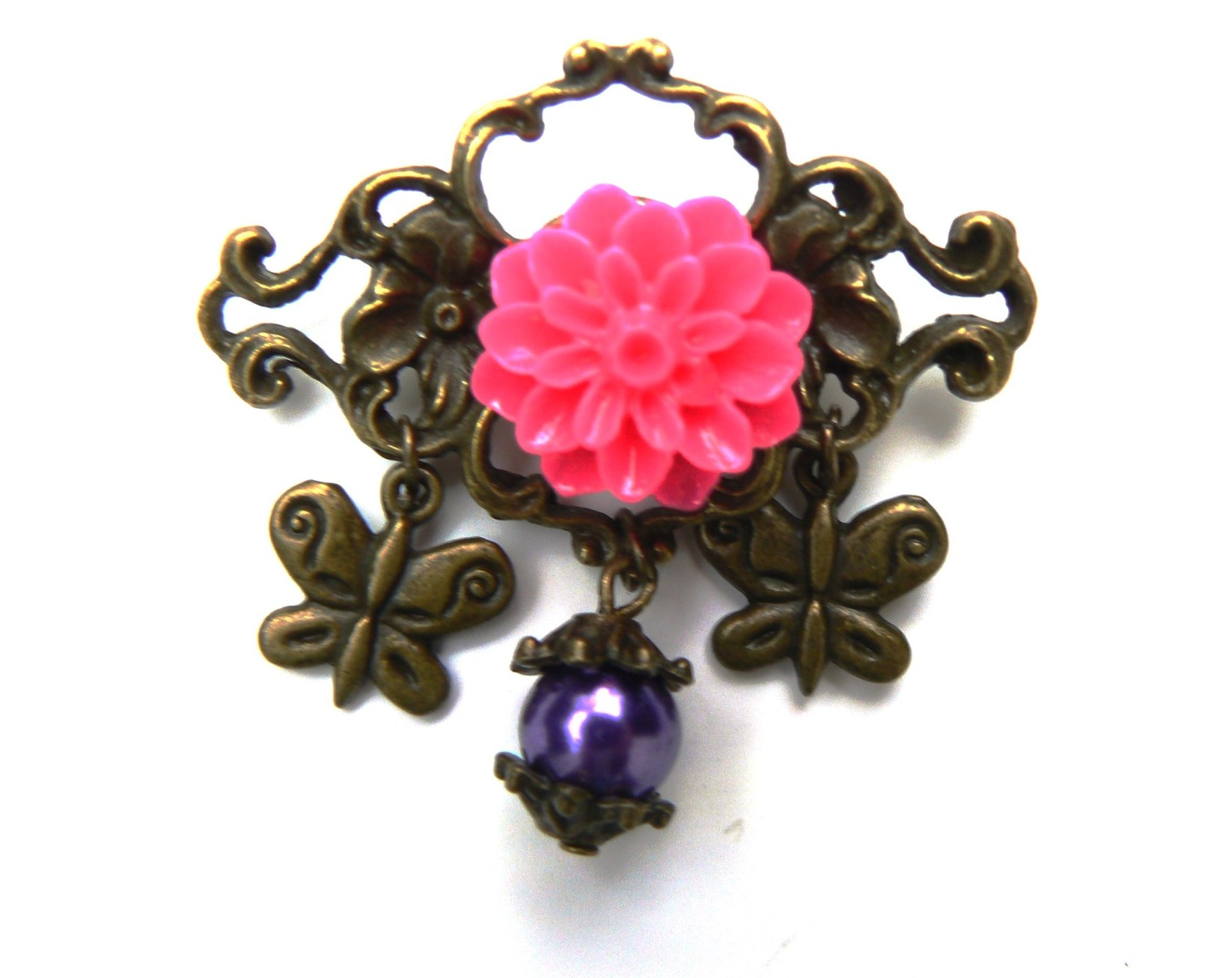 broche-rose-fuchsia-resine