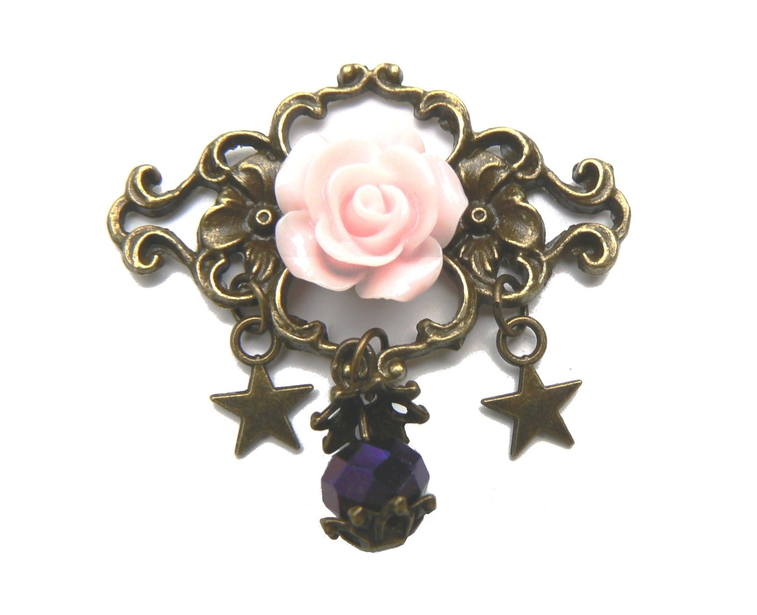 broche-rose-rose-resine