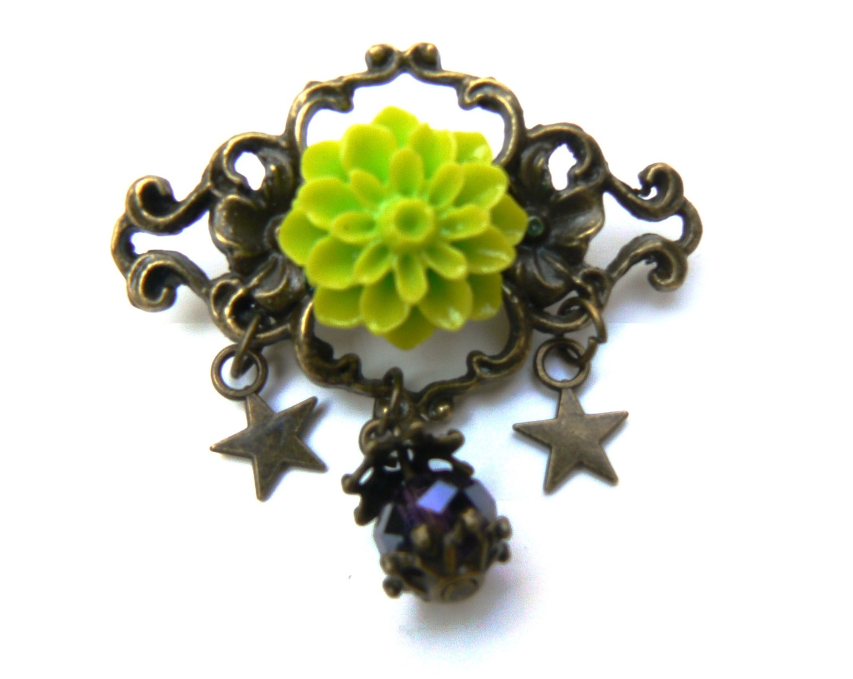 Kit DIY broche cabochon rose verte en résine