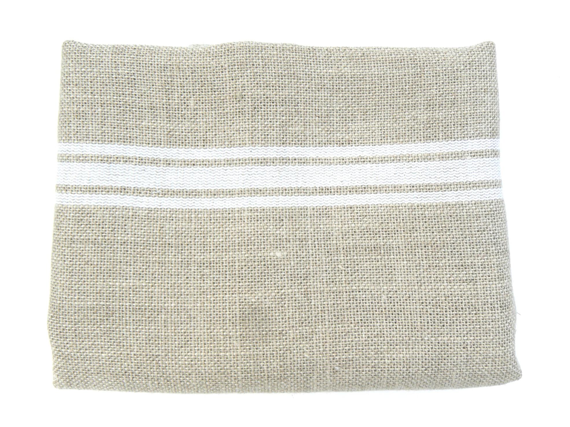 Lin rayures blanches toile de lin naturel ficelle