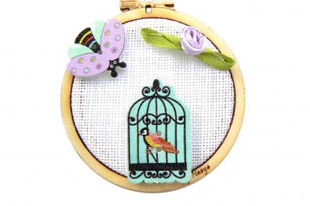 Mini tambour avec cage oiseau et abeille