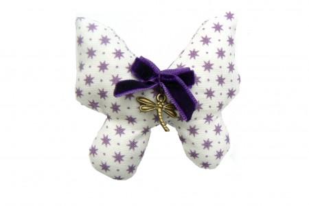 Kit broche Papillon blanche étoiles prunes