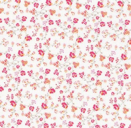 Tissu petites fleurs roses sur fond écru