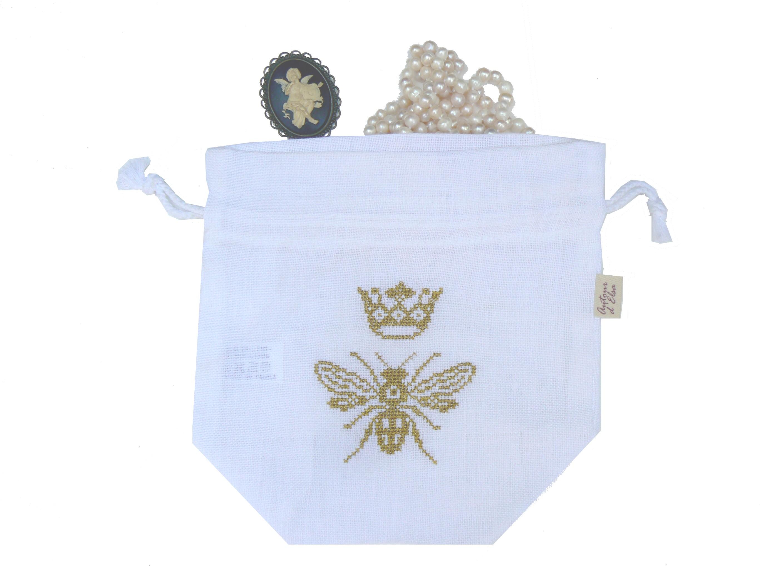 Pochon abeille dorée avec couronne