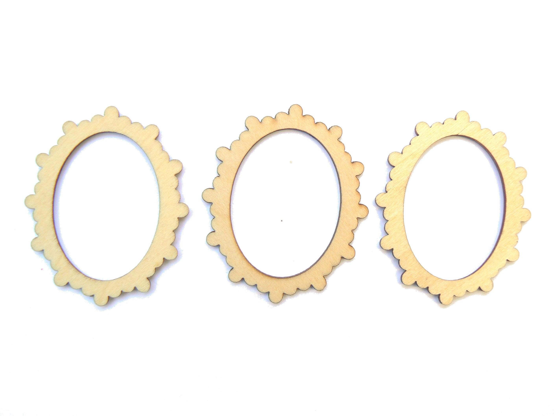 3 Mini cadres petit beurre ovales en bois clair