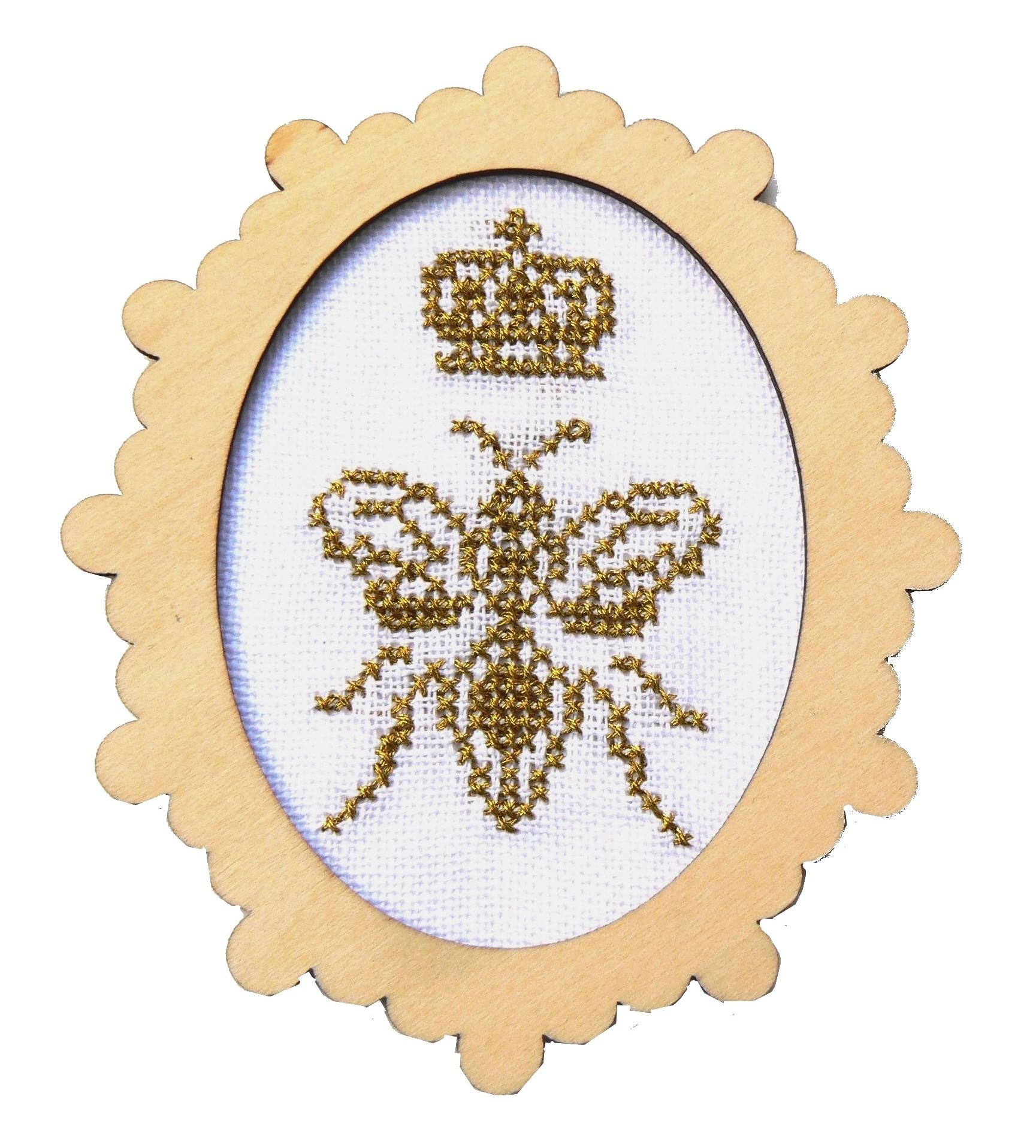 Abeille fil métallisé doré kit à broder dans mini cadre