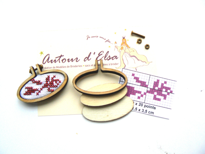 Mini tambour ovale kit bouton de rose pour bijou