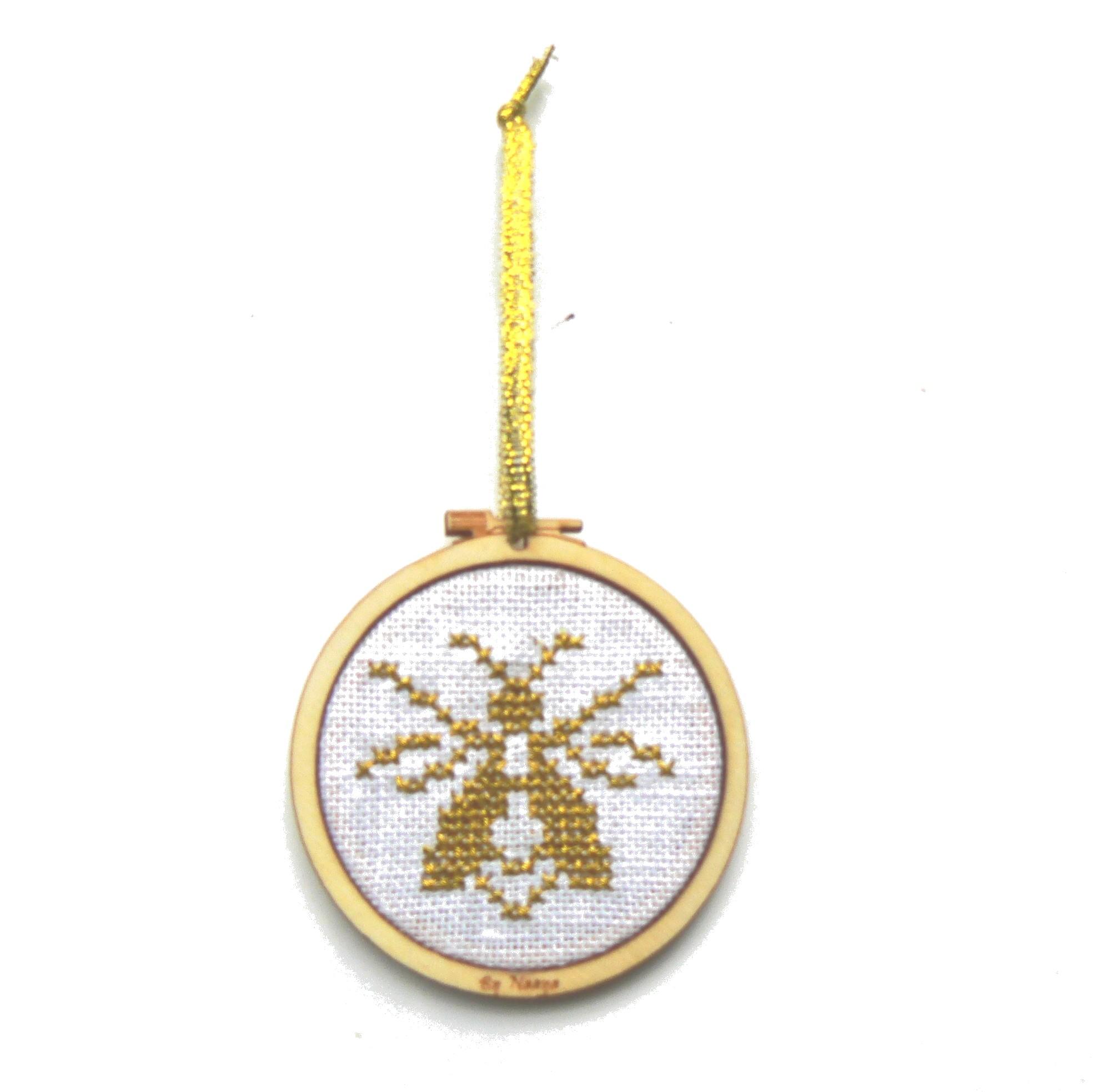 Abeille dorée dans mini tambour kit DYI à broder au point de croix